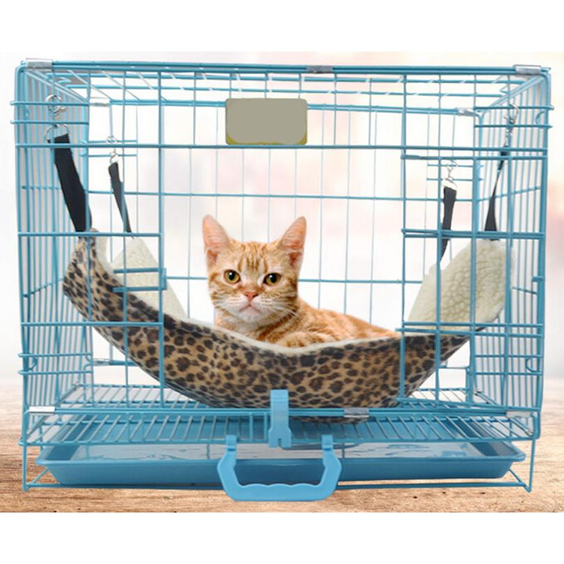 Ouneed Leopard Print Pet Cat Hammock Bed Cover with 4 Belts Mat Blanket Comfortable Removable for Chair Cage Happy Sale