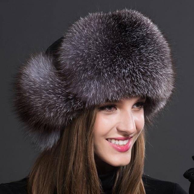 De lujo de piel de Zorro Sombrero de Invierno de Las Mujeres de Protección  Del Oído 6988b07e24d