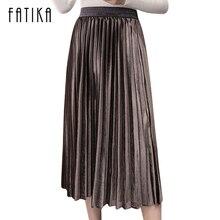FATIKA 2017 New Fashion Women Velvet Pleated Skirt High Waist Gorgeous Skirts Autumn Winter Midi Skirts