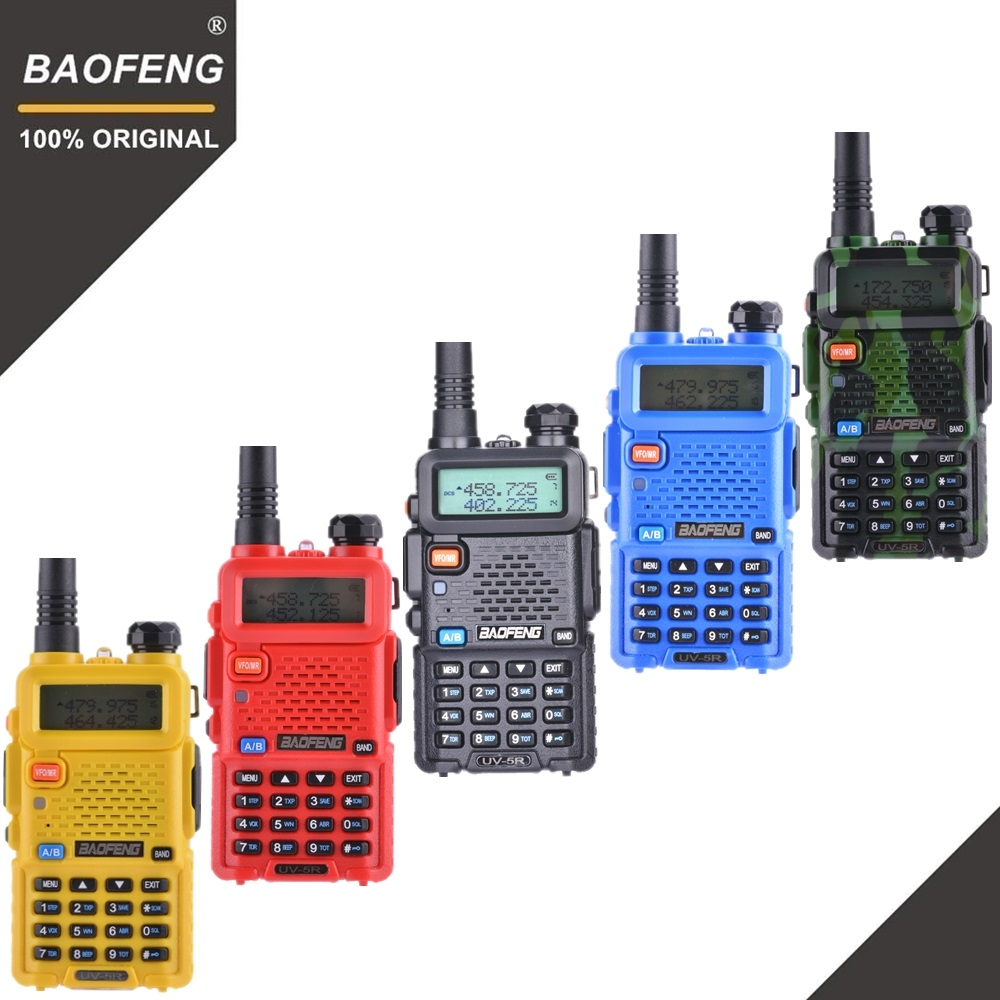100% Originale Baofeng UV-5R Walkie Talkie Dual Band Professionale 5 w VHF e UHF A Due Vie Radio UV5R Caccia Palmare HF Ricetrasmettitore