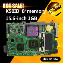 for Asus K50ID 1GB 8 Memory laptop motherboard K50I K50IE X5DI K50ID board mainboard 60-NZ1MB1000-A03 69N0HUM10A03-01 tested