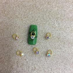Bijoux en alliage pour ongles, strass, paillettes d'art, effet de décoration 3D, vert, Nail Art, 10 pièces/sac