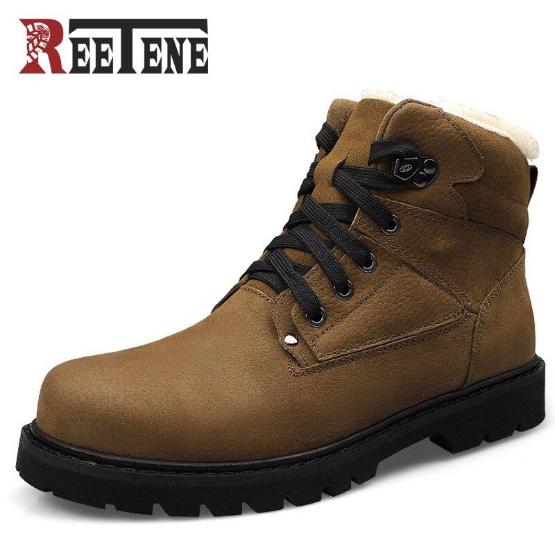 Reetene 2017 Winter Men Boots Martin Men Winter Boots Size 40~46 Warm Plus Size Lace-up Men Winter Shoes nt00015 1 men s winter fashionable velvet like warm martin boots yellow pair size 40