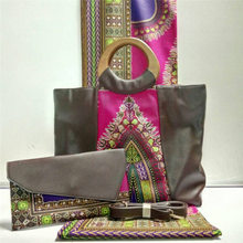Último Bolso de Las Señoras Con Cera Verdadera de la Tela Africana 6 Yardas Set para el Partido de Moda Material de Cera Hecha Bolsa Y Tela Set YY-526