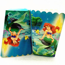 6pcs/lot Cartoon Little Mermaid Large Popcorn Paper Box In Kids Birthday Happy Decoration Set Party Favor
