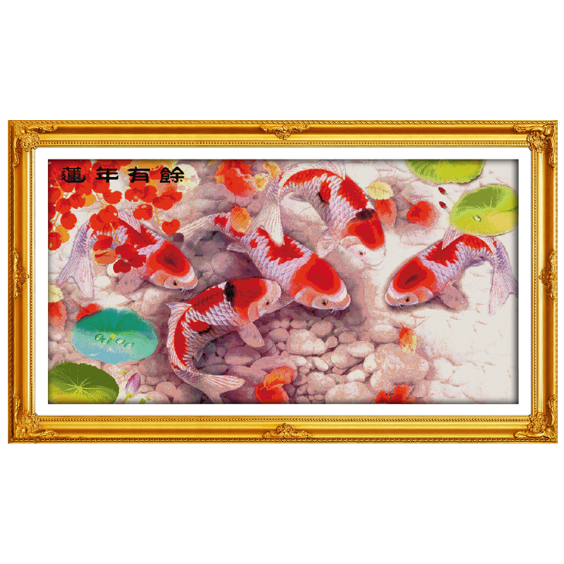Lotus And Fish Patterns Counted Cross Stitch 11CT 14CT Cross Stitch Set Wholesale Animal Cross-stitch Kits Embroidery Needlework