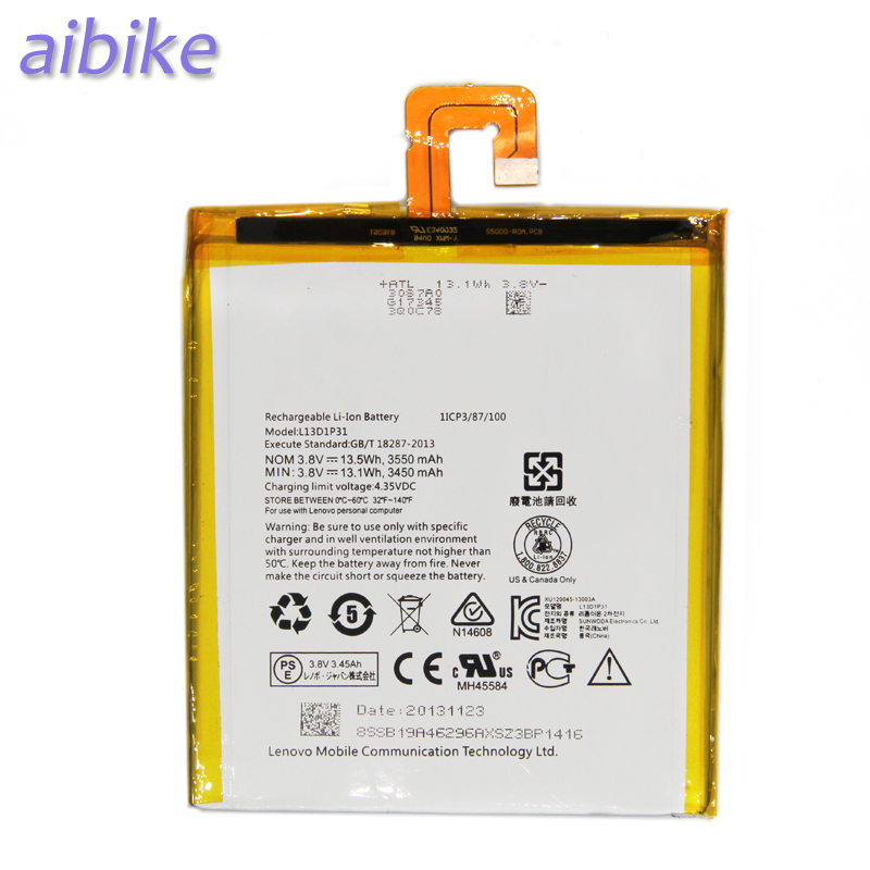 Aibike New original phone batteries L13D1P31 3450-3550mAh For  Lenovo Pad S5000 S5000-H Replacement Battery +Repair Tool Kit
