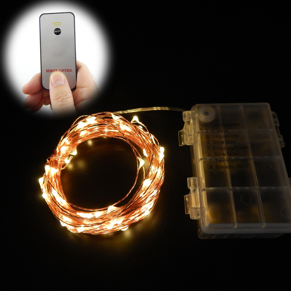 33Ft 10m 100Led Waterproof Battery Operated LED String Lights Chrismas Copper Wire Fairy Lights+1Key Remote Control 8Modes ...