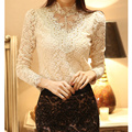 Women Fashion Lace Blouse Shirts Elegant Long Sleeve Stand Collar Top Shirt Patchwork Embroidery Korean Blouses feminino F1029