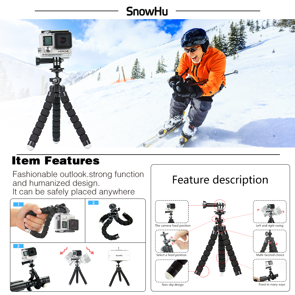 SnowHu para Gopro accesorios set para go pro hero 7 6 5 4 3 kit de montaje para SJ5000 para Eken para xiaomi para yi 4 k trípode de cámara GS13 - 3