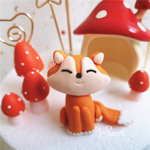 Image 2 - Sitting Fox Mushrooms House Cake Toppers Boy Girl Birthday Dessert Decoration for Childrens Day Party Supplies Lovely Gifts