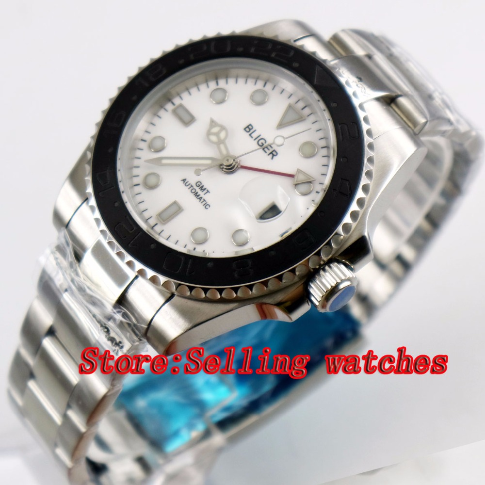 40mm Bliger White Dial ceramic bezel red GMT Luminous Hands Sapphire Glass Automatic Movement Mens Mechanical watches40mm Bliger White Dial ceramic bezel red GMT Luminous Hands Sapphire Glass Automatic Movement Mens Mechanical watches