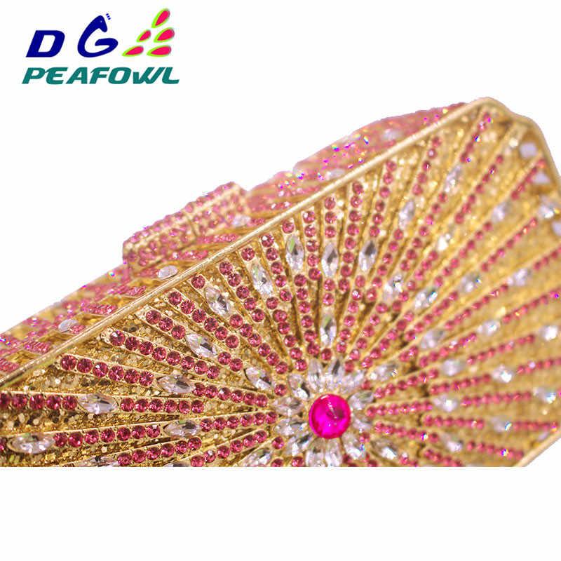 Mulheres da Noite Saco De Cristal Da Flor de Ouro de luxo Pavão Diamante Mulheres Bolsa Festa Cadeia Saco Do Casamento Bolsas Dia Embreagens