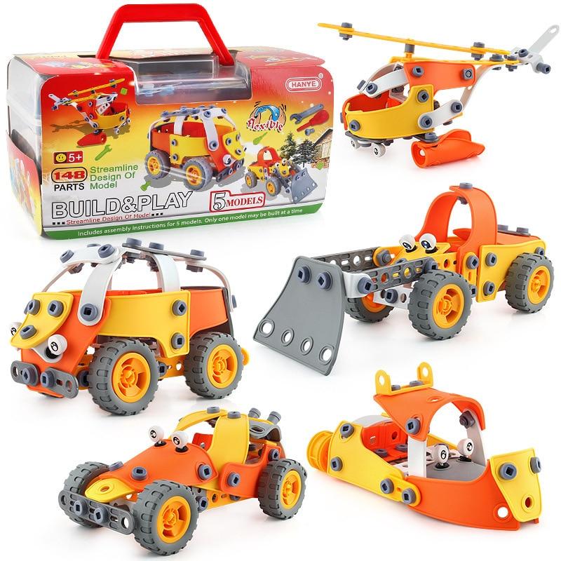 148pcs MOC Building Blocks Set Classic Cartoon Vehicle Car Plane Truck DIY Creative Screw Assembling Toy Kids Educational Gifts