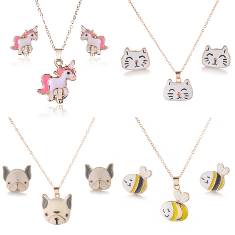 Golden Cross Necklaces And Earrings Set Of Unicorn/Bees/Bulldog/Cat Cute Animal Jewelry Suit for Women Girls