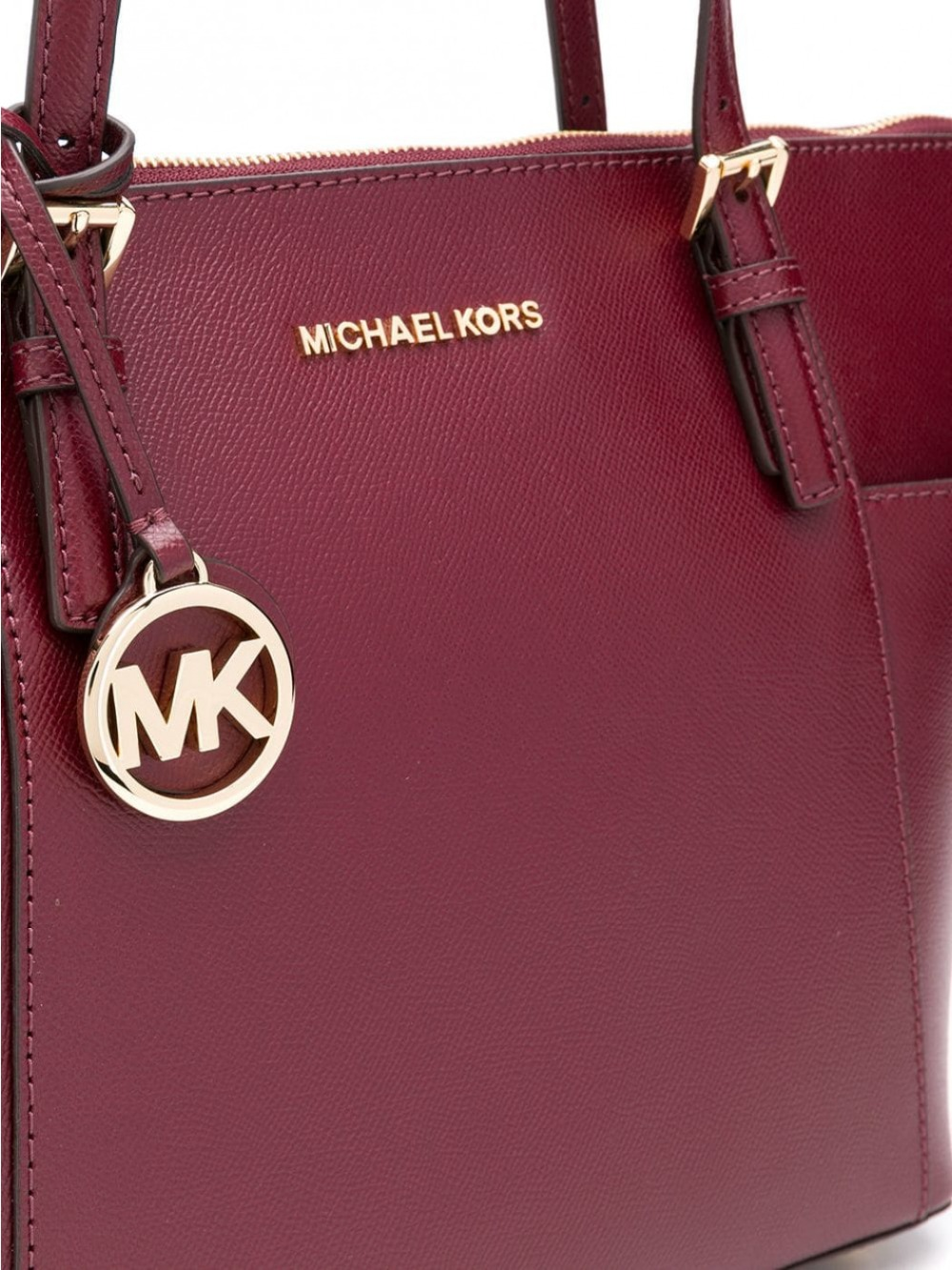 Michael Kors Jet Set Large Crossgrain Leather Top Zip Tote (Oxblood/Gold)  Luxury Handbags For Women Bags Designer by MK-in Top-Handle Bags from  Luggage ...