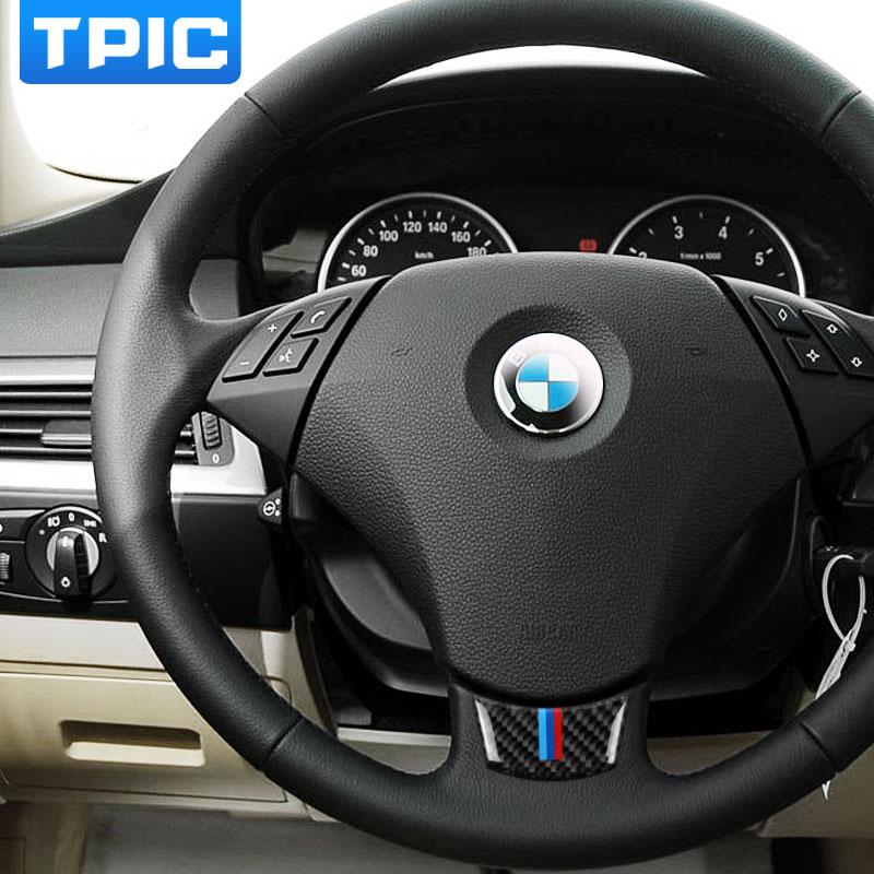 Carbon Fiber Steering Wheel Sticker M Stripe Emblem 3d Car