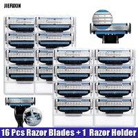 High Quality 16 Pcs Razor Blades 1 Razor Holder For Men Face Care Shaving Blades For
