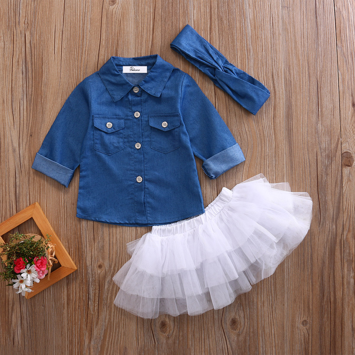 Фото Kids Baby Girls Denim Tops T shirt+White Tutu Skirts+Headband 3pcs Outfits Clothes Set Summer Long Sleeve Children Clothing Sets