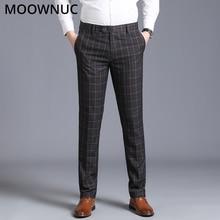Брюки модный бренд MOOWNUC без глажки, Весенние Простые длинные штаны, клетчатые прямые облегающие деловые повседневные мужские брюки