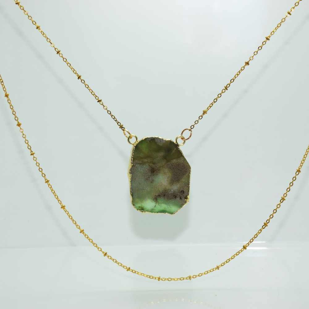1 pc สีเขียวฟรีรูปแบบ Chrysoprase healing connector สร้อยคอผู้หญิงดิบธรรมชาติ Slab Slice ออสเตรเลียสร้อยคอสร้อยคอสำหรับสาว
