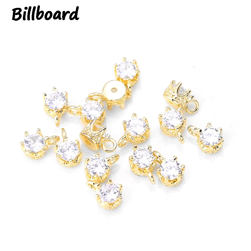 2019 New Fashion Charms for High Grade Jewelry Making Trendy Metal Copper Inlaid with Zircon Crystal 10pcs bag in Charms from Jewelry Accessories