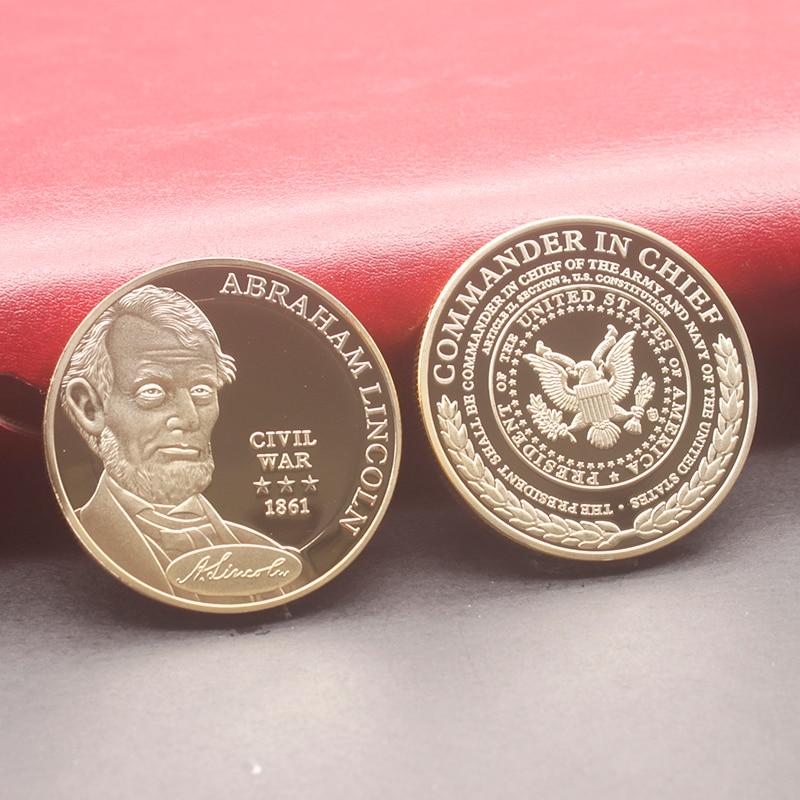 US Abraham Lincoln Civil War 1861 Souvenir Coins Gold Plated Coin Collection