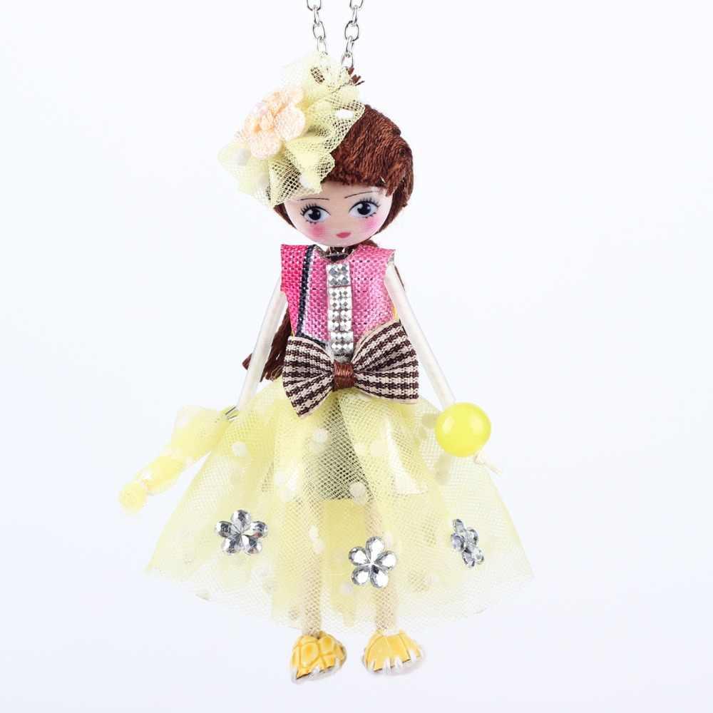 Bonsny кукла ручной работы ожерелья французский себе ткань длинной цепочке кулон новинка 2015 весенний стиль украшения для Для женщин аксессуары