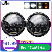 CO LIGHT For Lada Niva 7inch Led Headlight 75W 35W Hi/Low Beam Angle Eyes DRL Turn Singal Headlamp for Jeep Wrangler Offroad 4x4 new 9d led offroad light hi low beam 57w crystal led headlight for jeep led work light 4x6 inch square headlamp 4x6 work light