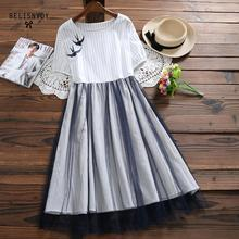 Women Short Sleeve Summer Dress 2019 Fashion Mori Girl Sweet Vestidos Female Lace Patchwork O-neck Chiffon Plaid Vintage Dresses