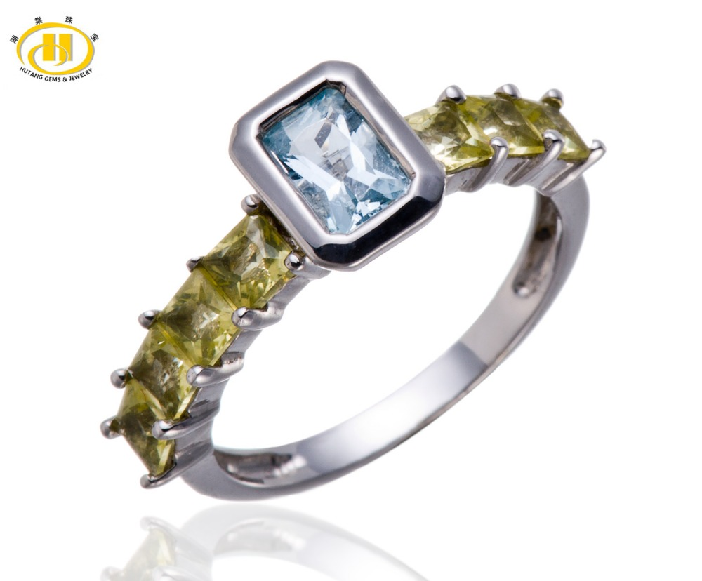 Hutang Womens Natural Aquamarine & Peridot Gemstone Solid 925 Sterling Silver Ring Fine Jewelry For Gift Christmas