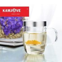 Free Shipping Kamjove Thickening Heat Resistant Glass Cup Tea Set Flower Tea Cup With A Handle