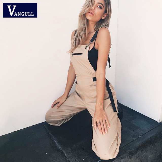 Mamelucos caqui Vangull mono de mujer largo elegante cremallera bolsillos manga ajustada Correa alta cintura algodón moda verano