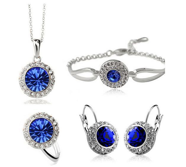 Fashion New Austrian Crystal Round Earrings Necklaces bracelets Rings jewelry Sets CS180B22 ABC