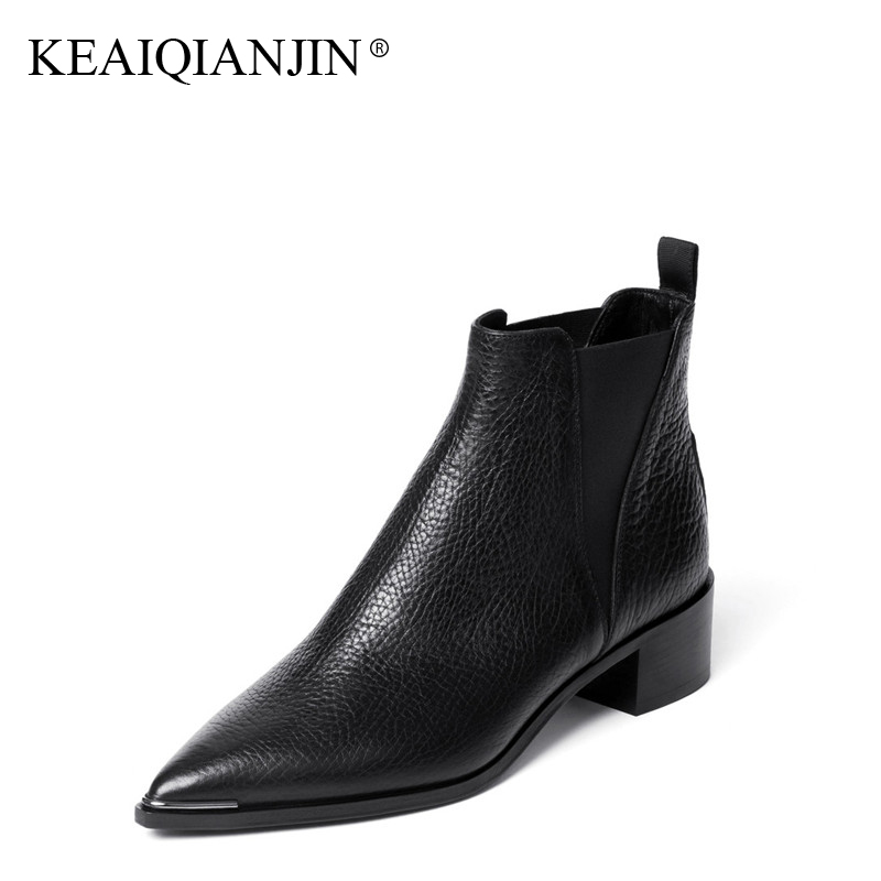 KEAIQIANJIN Woman Pointed Toe Martens Boots Black Metal Decoration Autumn winter Shoes Fashion Genuine Leather Ankle Boots 2017