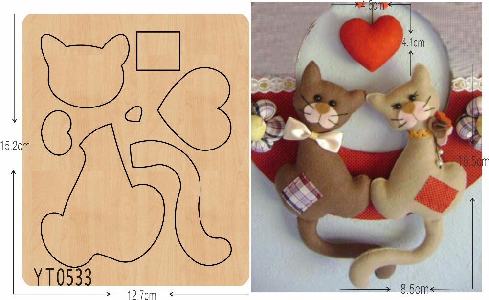 Cute kitten 3 DIY new wooden mould cutting dies for scrapbooking Thickness 15 8mm YT0533