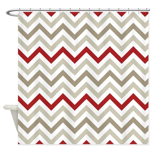 Red Gray And White Chevron Stripes Shower Curtai Decorative Fabric Curtain Set Bath Mat For Doormat Outdoor