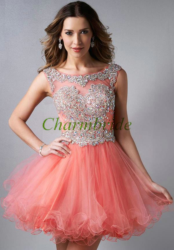 Short peach tulle homecoming dress 2014,chic prom dresses with ...