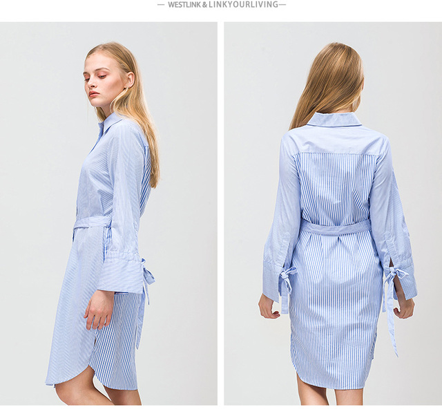 Stripe Lace-up Button Long Sleeve Cotton Knee-Length Style Blouses Women Dress