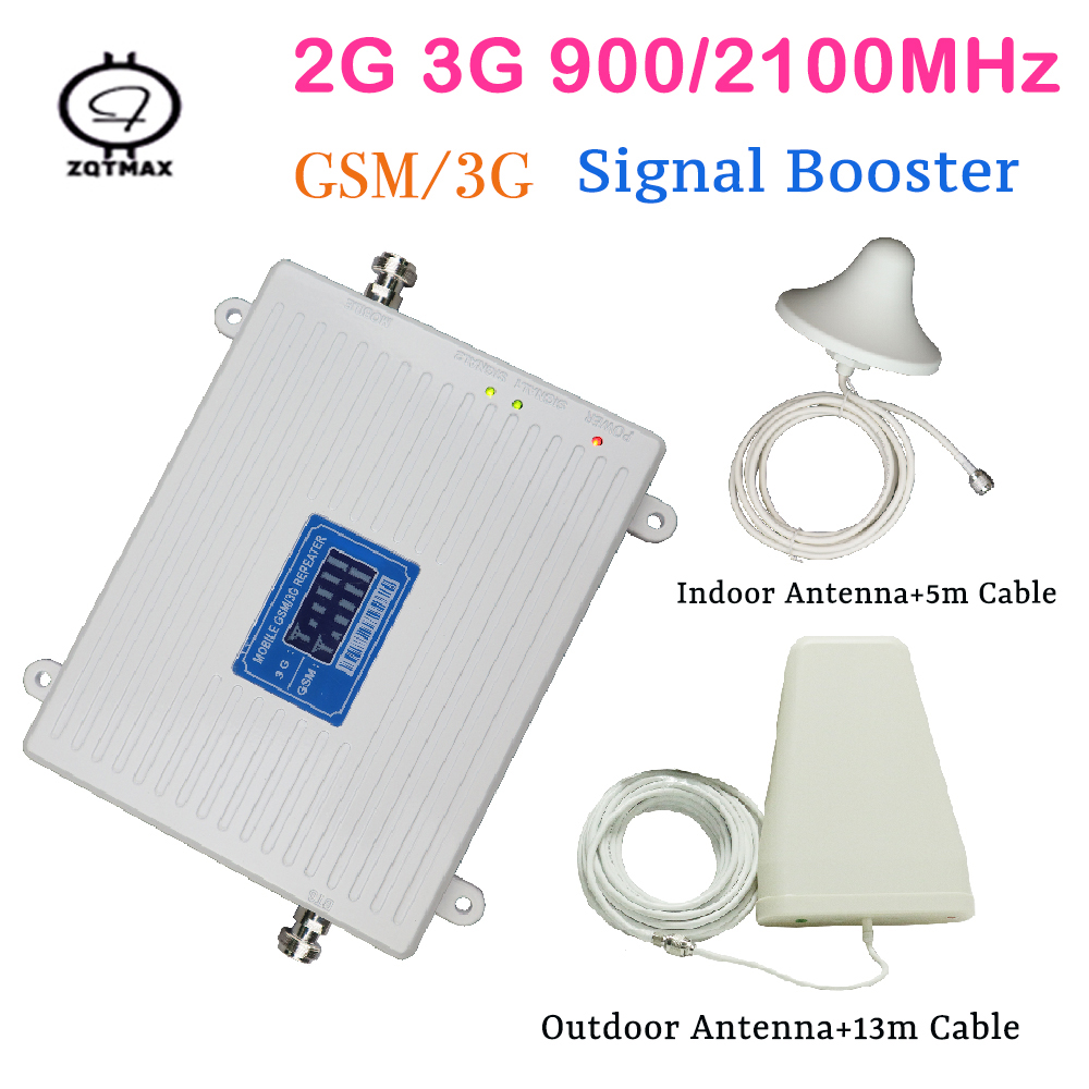 Double LCD Display Gain 65dB Dual Band Signal Booster GSM 2100MHz 2G 3G GSM WCDMA Mobile Signal Repeater Indoor Outdoor Booster