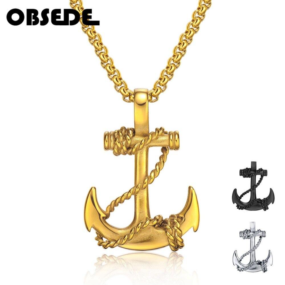 OBSEDE Punk Männer Titan Stahl Anhänger Kette Anker Halskette Kreuz Männer Frauen Edelstahl Mode Schmuck Schwarz/Gold/Silber geschenk