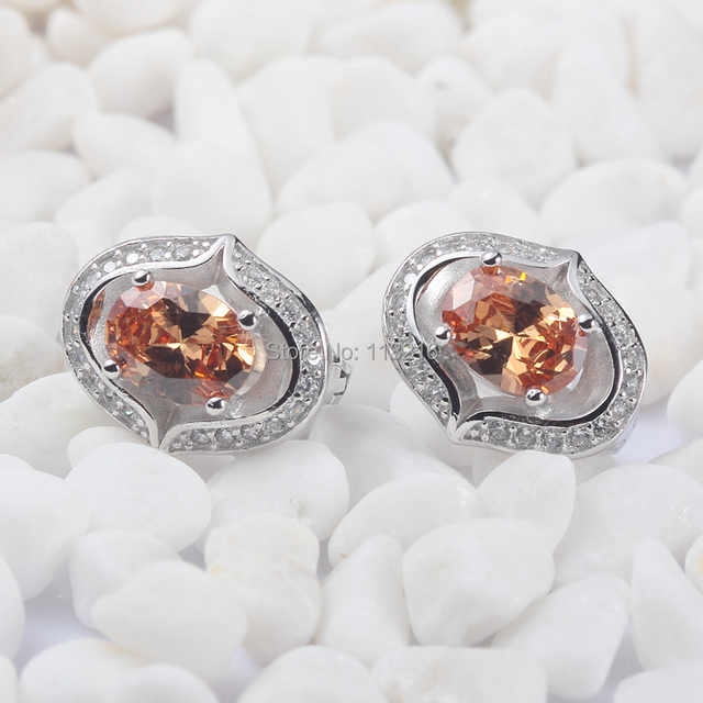 Wholesale Champagne Cubic Zirconia Jewelry 925 sterling Silver Earrings S-3723 Noble Generous sumptuousness Engagement Wedding