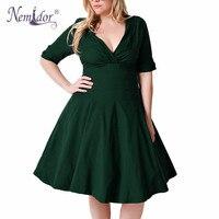 Nemidor женщин 1950 S Половина рукавом v-образным вырезом Ретро плюс размер 8XL 9XL A-Line платье Элегантный Эластичный коктейль до колена качели платье