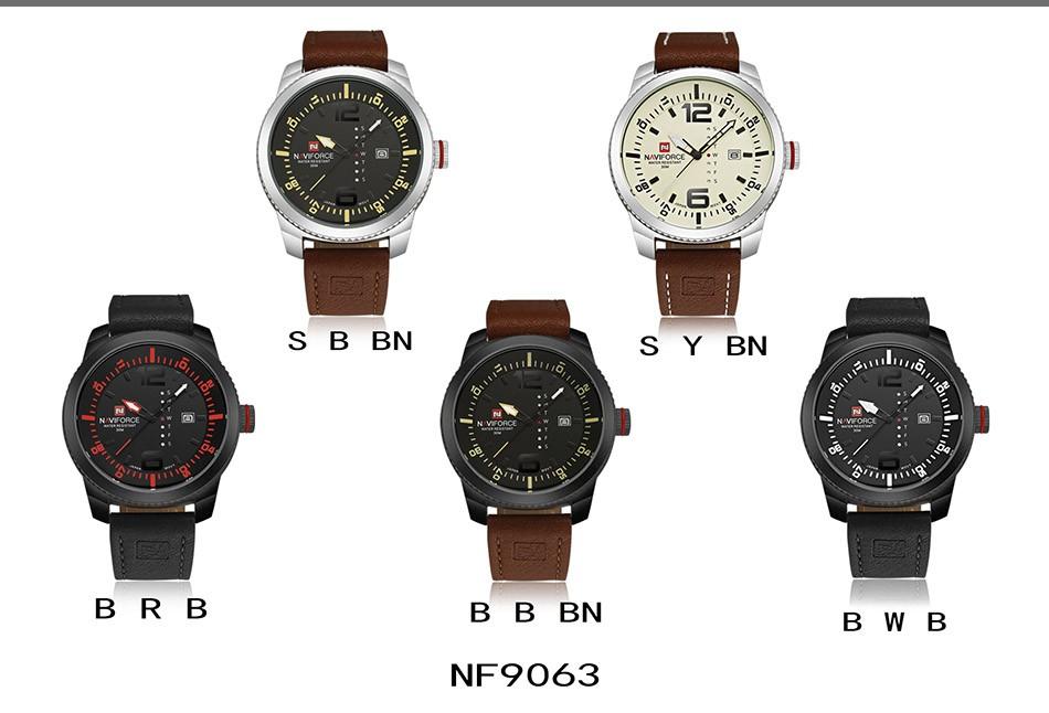 2017 De Luxe Marque NAVIFORCE Hommes Sport Militaire Montres Hommes de Quartz Date Horloge Homme En Cuir Décontractée Montre-Bracelet Relogio Masculino 11