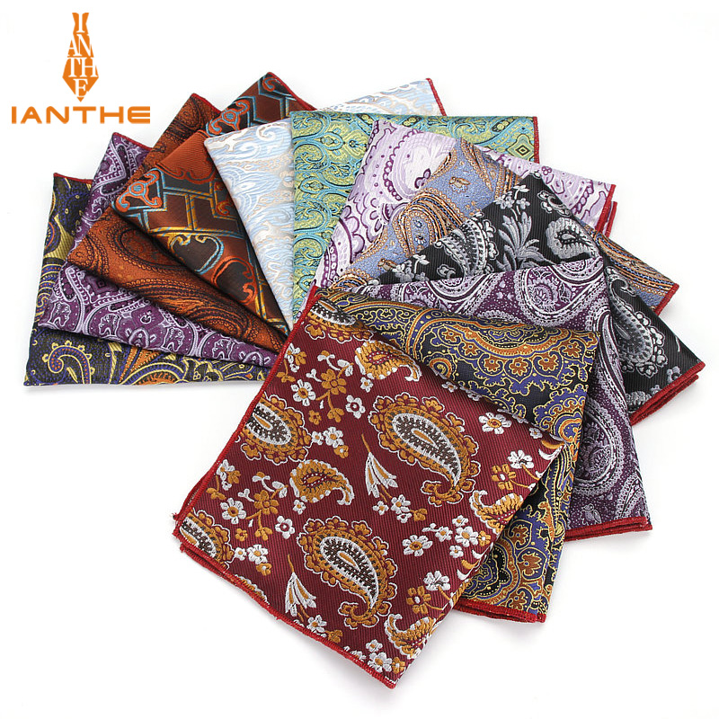 Brand Paisley Silk Handkerchiefs Woven Mens Pattern Hanky Mens Business Casual Square Pockets Handkerchief Wedding Hankies Towel