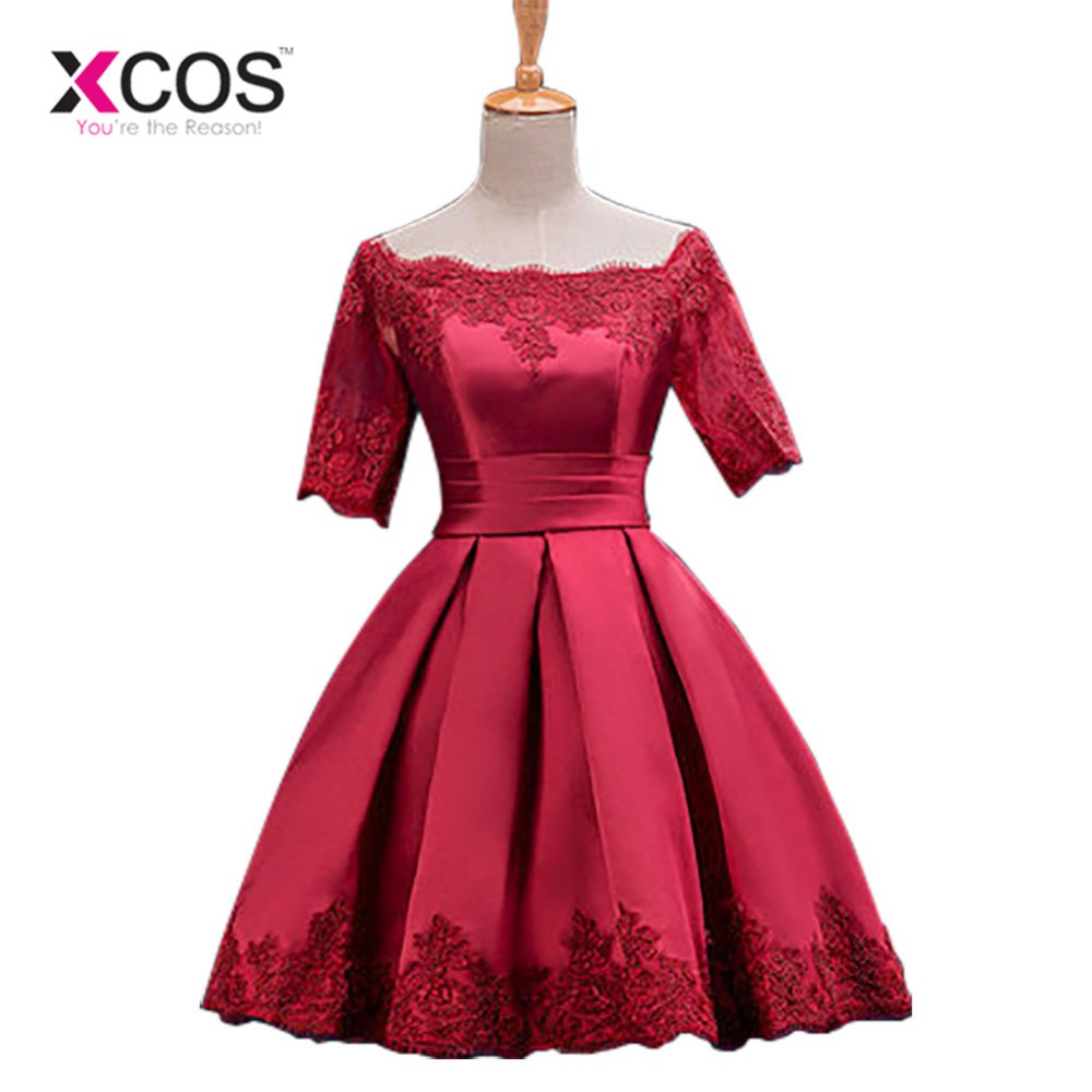 Cocktail Dresses Jersey Women Girls Graduation Dress Homecoming Embroidery Knee Length Party A-line Evening Dress Short Sleeves cocktail dress