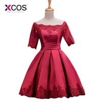 Cocktail Dresses Jersey Women Girls Graduation Dress Homecoming Embroidery Above Knee Party A line Evening Dress Short Sleeves