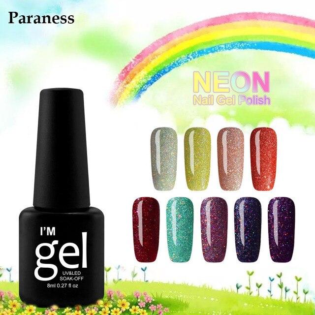 Paraness Lucky 3D Shiny beautiful Neon Rainbow Nails UV 8ml ...