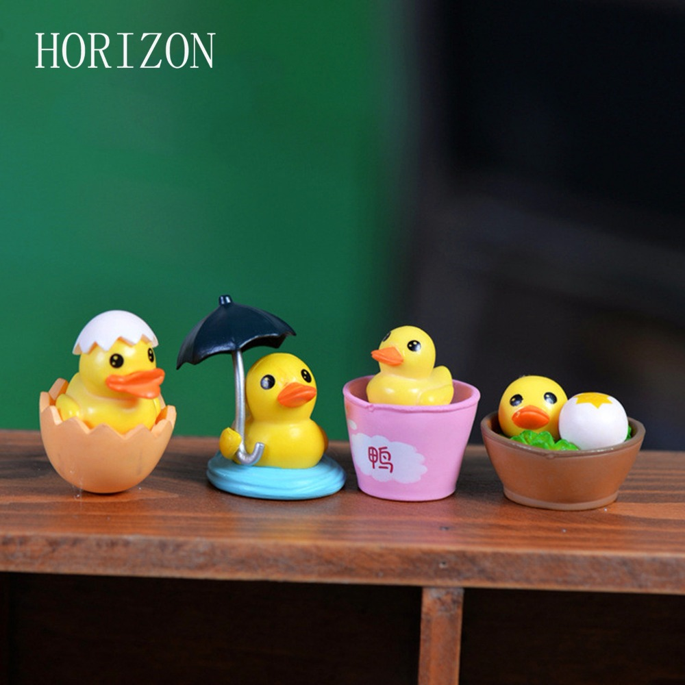 New 4Pcs Mini Cute Little Yellow Duck Resin Crafts For Home Plants Decoration Miniature Fairy Garden Decor DIY Accessories