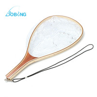 New Bobing Outdoor Sports 58CM Wooden Handle Fly Fish Fishing Landing Trout Clear Rubber Net Mesh